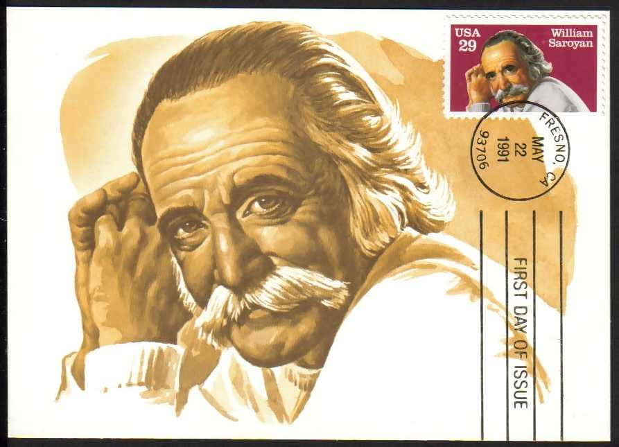 USA Scott #2538, William Saroyan Maxi Card.  May 22, 1991, Fresno CA cancellation. (WHA #19) <P><a href=&quot;/images/World-Honors-019-Maxi.jpg.JPG&quot;> <font color=green><b>View the image</a></font>