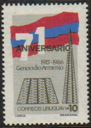 "Uruguay Scott #1214, Armenian Genocide, single stamp issued in 1986 on the 71st anniversary of the Genocide. (WHA #48) <P><a href=""/images/World-Honors-048.jpg.jpg""> <font color=green><b>View the image</a></font>"