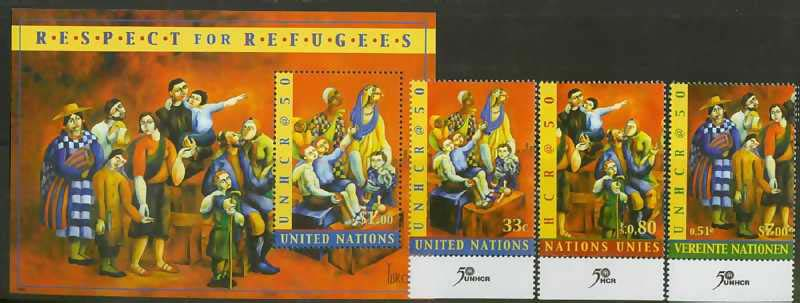 "UN Scott #787-8, Yuri Gevorgian Paintings in UN. Three stamps and one S/S. (WHA #74) <P><a href=""/images/World-Honors-074.jpg""> <font color=green><b>View the image</a></font>"