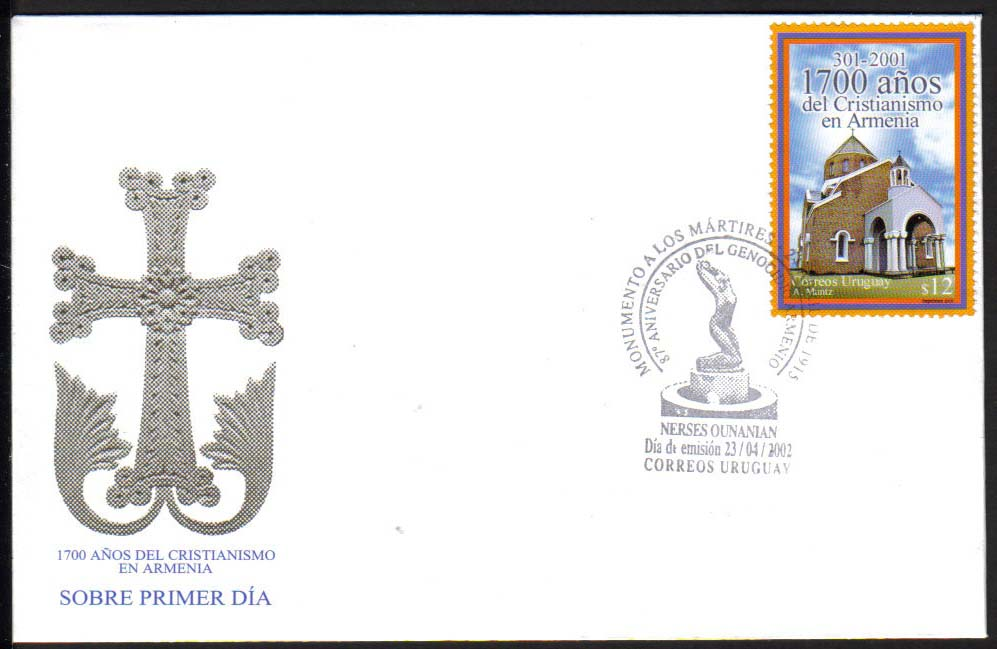"Uruguay Scott #1944, Christianity in Armenia, FDC, 1700th anniversary, issued April 2002, Nerses Ounanian. (WHA #87) <P><a href=""/images/World-Honors-087. jpg.jpg""> <font color=green><b>View the image</a></font>"