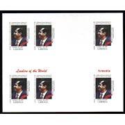 "Liberia Scott #xxx, Robert Kocharyan, President of Armenia, Proof. Complete sheet of 6 stamps, Full color. <P><a href=""/images/World-Honors-143-Color-Sheet.jpg""> <font color=green><b>View the image</a></font>"