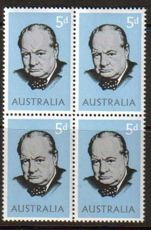 "Australia Scott #389, Winston Churchill, photographed by Yousuf Karsh.  Issue date: May 24, 1965.  Block of 4.<P><a href=""/images/World-Honors-145-BL4.jpg""> <font color=green><b>View the image</a></font>"