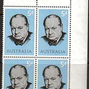 "Australia Scott #389, Winston Churchill, photographed by Yousuf Karsh.  Issue date: May 24, 1965.  Corner Block of 4. <P><a href=""/images/World-Honors-145-Corner-BL4.jpg""> <font color=green><b>View the image</a></font>"