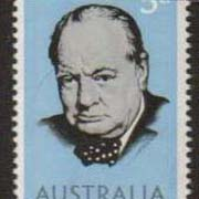 "Australia Scott #389, Winston Churchill, photographed by Yousuf Karsh.  Issue date: May 24, 1965.  A Single Stamp. <P><a href=""/images/World-Honors-145-Single.jpg""> <font color=green><b>View the image</a></font>"