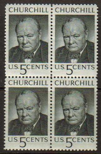 "USA Scott #1264, Winston Churchill, photographed by Yousuf Karsh.  Issue date: May 13, 1965.  Block of 4. (WHA #145) <P><a href=""/images/World-Honors-145b-BL4.jpg""> <font color=green><b>View the image</a></font>"
