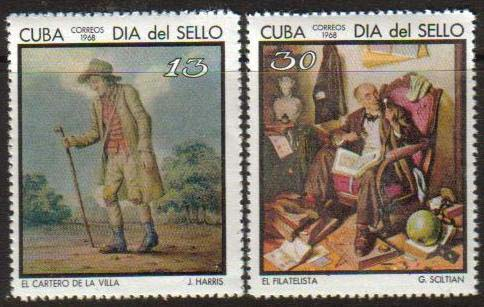 "Cuba Scott #1332, Shiltian's famous painting of ""The Philatelist"", also includes the second stamp in this set, showing the ""Village Postman""."